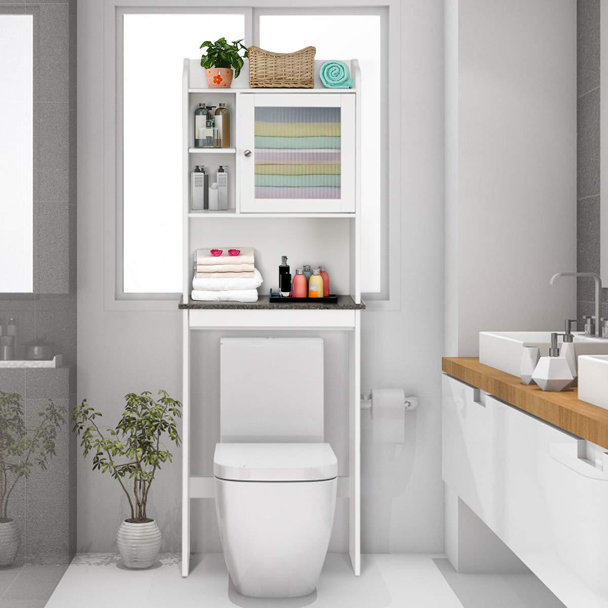 Badezimmerregal Holz Badschrank freistehend /Überbauschrank Bad Toilettenst/änder mit verstellbarem Regal COSTWAY Toilettenschrank wei/ß