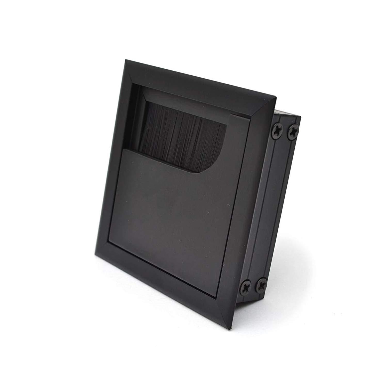 LIKERAINY Pasacables Mesa Oficina Cable Gl/ándula 80x 80mm para Encastrar en Escritorio Cable Salida Angular Aluminio Acabado Plata Anodizado Organizador de Alambre 4 Piezas