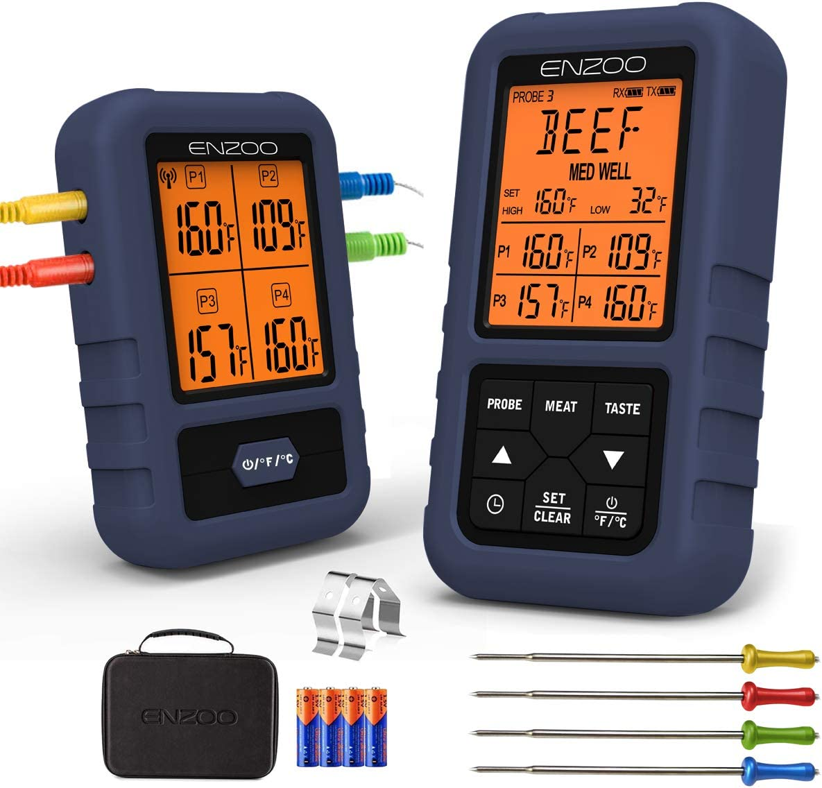 Best Wireless Meat Thermometer 2021 Amazon.com: Meat Thermometer, ENZOO Wireless Meat Thermometer for