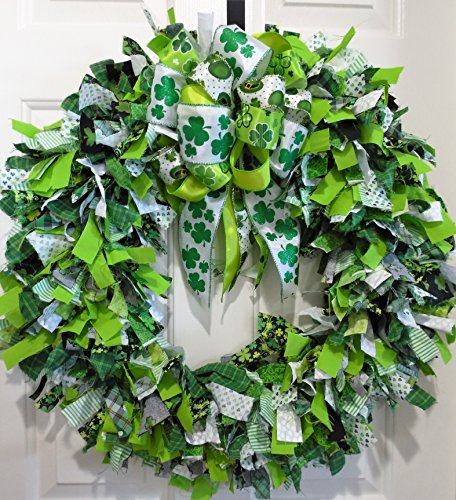 St. Patricks Day Rag Wreath, St. Patty's Day Fabric Wreath, Clover Wreath, Leprechaun Wreath, Shamrock Wreath