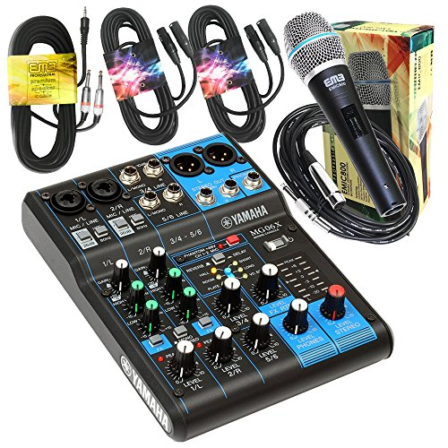 800w Powered Stereo Mixer (Yamaha Package Bundle - Yamaha MG06X 6-Channel Mixer + EMB Emic800 Microphone + 2 XLR XLarge Cables + 3.5mm to Dual 1/4