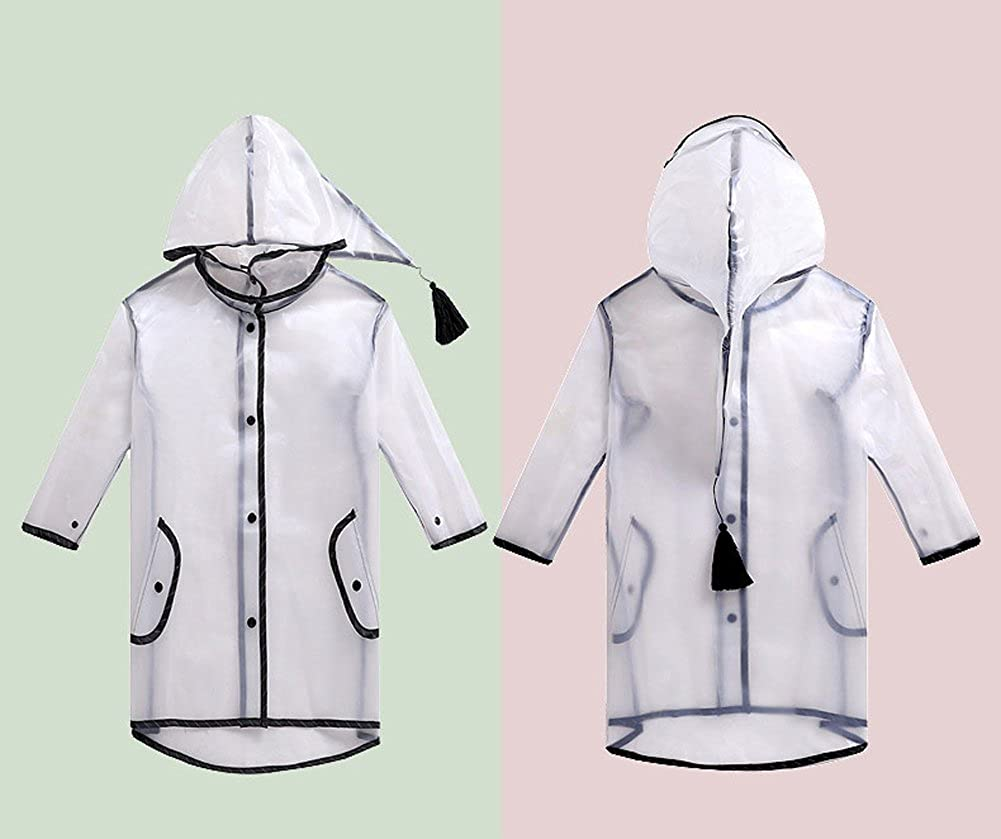 hefeilzmy Cute Baby Hooded Raincoat Transparent Rain Cover with Wide Bongrace and Fringe Waterproof Poncho