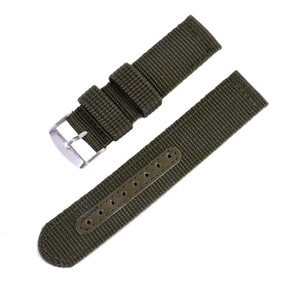 18mm Army Green Sports Canvas Watch Band for Sale 2 Piece Nylon Watch Strap Replacement Holes Tightened by Leather Strip