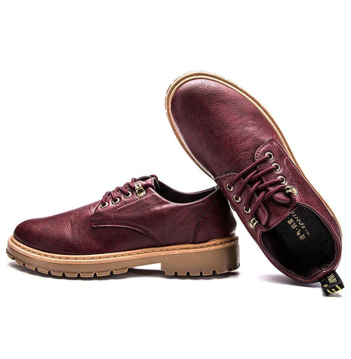 Männer Lässig Martin Stiefel Niedrige Hilfe Stiefel Schuhe Werkzeug Dicken Boden Herbst Retro Werkzeug Schuhe Herrenschuhe ROT 1f4ccc
