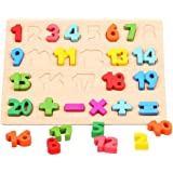 Early Education Math Learning Board Wooden Stand up Numbers 0-20 Kid's Learning Puzzle with Mathematical Calculation Formulas