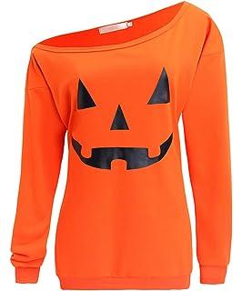 4f72adf3 GSVIBK Womens Halloween Sweatshirts Pumpkin Face Long Sleeve Sweatshirt Off  Shoulder Halloween Shirts Slouchy Pullover