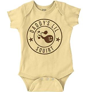 f719bbc40 Brisco Brands Daddy Little Squirt Offensive Rude Baby Romper Bodysuit