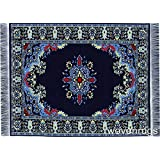 Oriental Woven Rug Mouse Pad - Oriental Style Carpet Mousemat (Navy)
