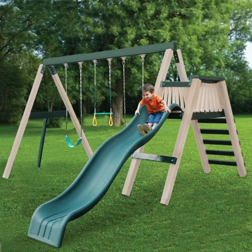 CONGO Swing'N Monkey 3 Position - Green and Sand Low Maintenance Swing Set