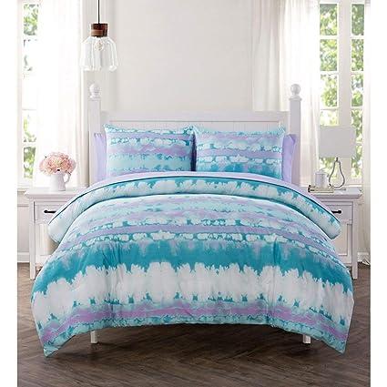 f9ecdd7a2082 5 Piece Girls Light Purple Blue White Tiedye Theme Comforter Twin Set,  Girly Vibrant Stripe