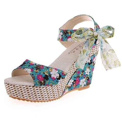 Elevin(TM) Women Summer Fashion Peep-Toe Bohemia Wedges High Platform Flip  Flops f320ab730