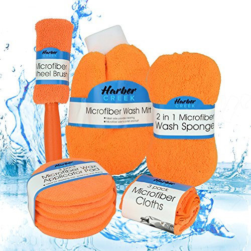 Complete Microfiber Car Care & Detail Kit- 9 Piece Set by Harbor Creek - Detailing Supplies- Wheel Brush, Washing Mitt, Cleaning Sponge, 3 Applicator Pads, 3 Wash Cloths- Interior & Exterior (Orange) (Car Wash Mitt On Stick compare prices)