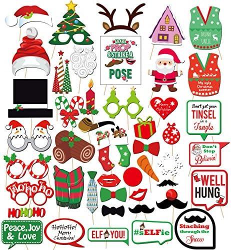 JeVenis Set mit 35 Weihnachts-Photo Booth-Requisiten Weihnachts-Photo Props Weihnachts-Photo Frame Weihnachts-Photo Booth-Frame