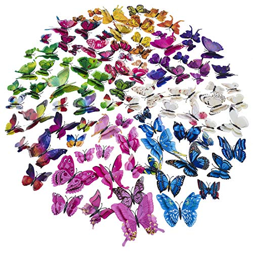 Double Wings 96 x Pcs 3D Butterfly Wall Stickers Colorful DIY Removable Art Decor Crafts for Nursery Classroom Offices Kids Girl Boy Baby Bedroom Bathroom Living Room Magnets and Sponge Glue 8 Color
