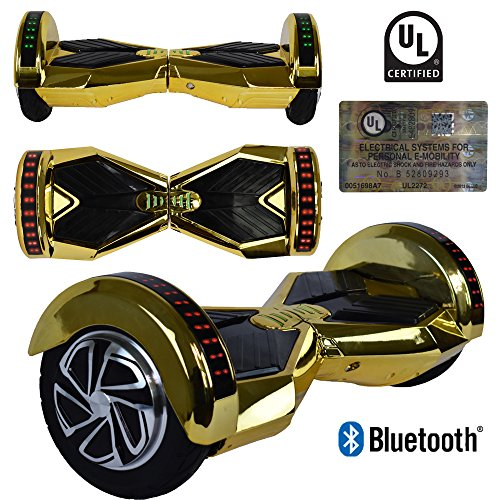 8' inch Wheels Electric Smart Self Balancing Scooter Hoverboard With Bluetooth Speaker LED Light - UL2272 Certified (Gold)