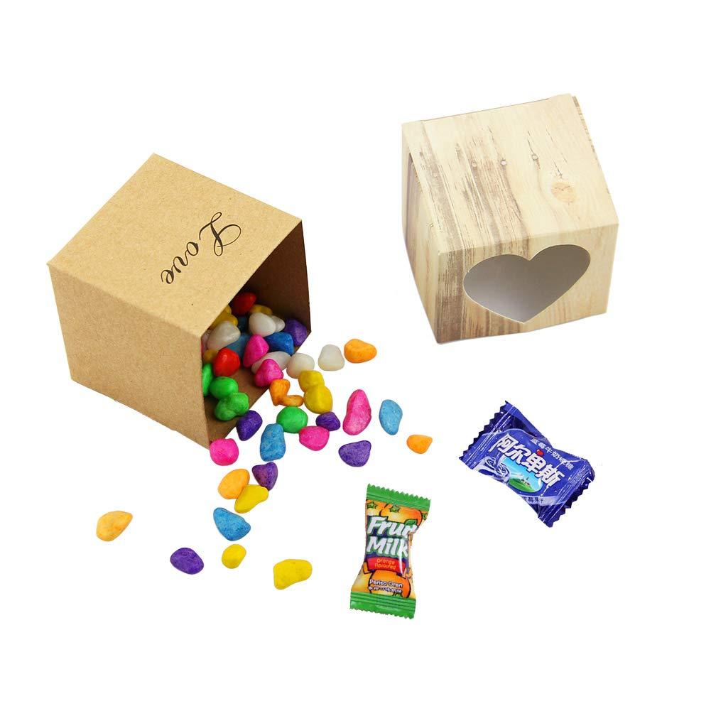 Cioccolato Festa di Compleanno 1,96 * 1,96 * 1,96 Pollici Biscotti ZKSM Scatola Regalo 50 Pezzi Scatola Cuore Amore di Carta da Regalo Stile Rustico con 50 Corde di Iuta per Dolci Matrimonio