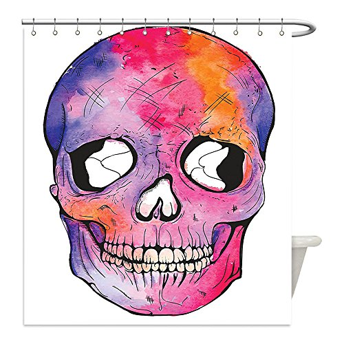 Images Of Day Of The Dead Costumes (Liguo88 Custom Waterproof Bathroom Shower Curtain Polyester Skull Decorations Funny Figure Cranium Pattern with Cracks Day of the Dead Danger Terror Image Multi Decorative bathroom)
