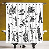 Durable Shower Curtain 3.0 [Doodle,Important Landmarks of World Pisa Collesium Great Wall of China Religious Statue Decorative,Black White] Machine Washable,Shower Hooks are Included