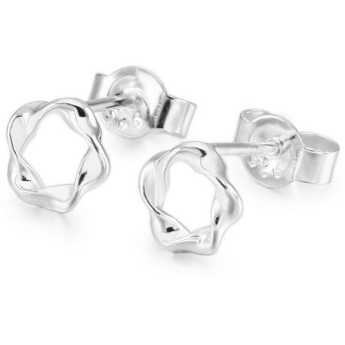 INBLUE Women's 925 Sterling Silver Stud Earrings Pentagram Pentacle INBLUE Jewelry mnp405