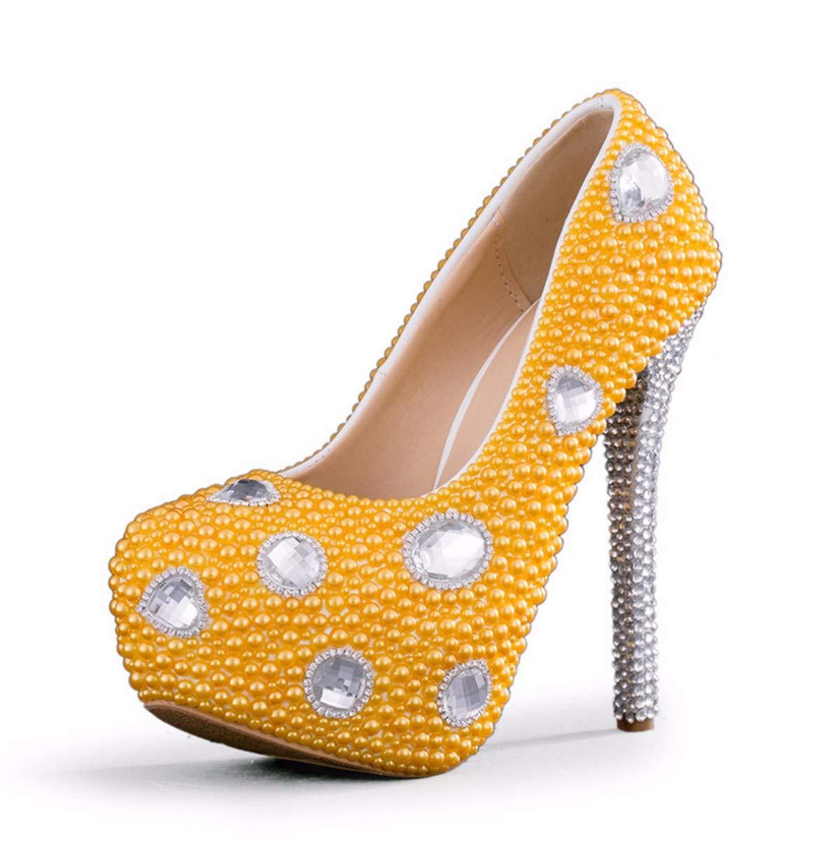 KPHY Damenschuhe/Diamond 14 High Heels Qualität Gelb Bankett Die Schuhe.