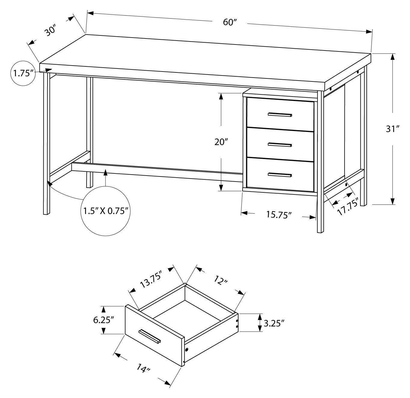 Monarch Specialties Computer Desk – 60 L White Silver Metal