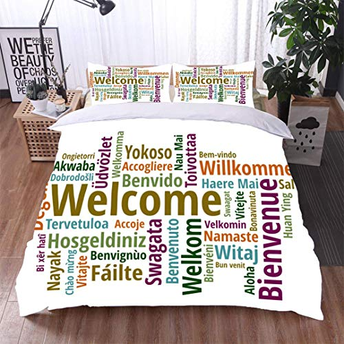 VROSELV-HOME Kids Quilt 3 Piece Bedding Set,Welcome in Different Languages wordcloud on White Background,Soft,Breathable,Hypoallergenic,with Sham and Decorative 2 Pillows,Full Queen