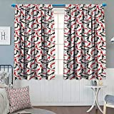 Chaneyhouse Red and Black Waterproof Window Curtain Women Fashion Pattern with High Heel