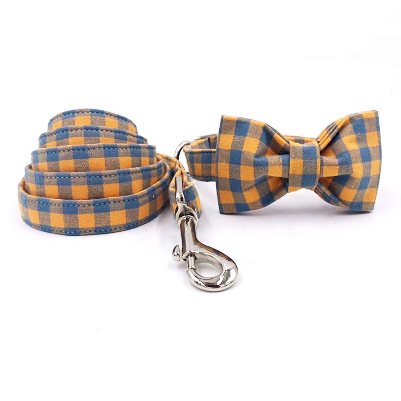 Collar bow and leash M collar bow and leash M Nerefy The orange Plaid Dog Collar and Leash with Bow Tie Dog Training Collar and Leash,Collar Bow and Leash,M