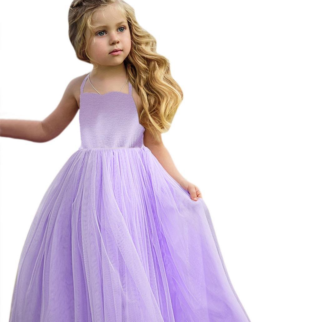 プリンセスドレスfor Baby Girl、sacow幼児用女の子レースプリンセスドレス舞台パーティーチュチュドレス服夏 140 パープル 140 パープル B07CG8YFM5