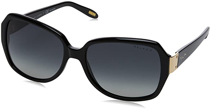 Ralph by Ralph Lauren Womens 0ra5138 Polarized Square Sunglasses, Black, 58.0 mm