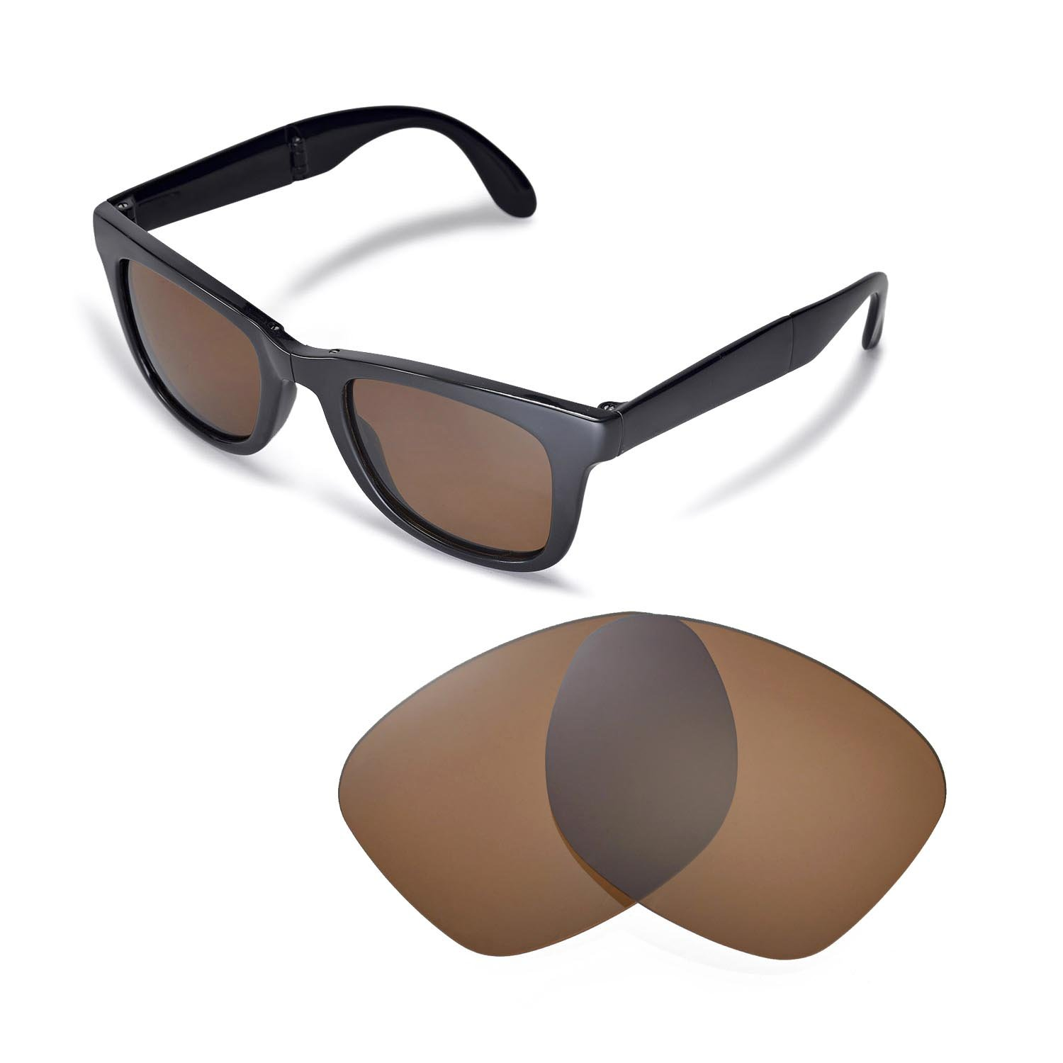 4e5ed524598 Walleva Replacement Lenses for Ray-Ban Wayfarer RB4105 50mm Sunglasses - Multiple  Options Available(Brown - Polirazed)