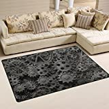 XiangHeFu Area Rugs Doormats Old Rusty Metal Gears Machine Parts 5'x3'3 (60x39 Inches) Non-Slip Floor Mat Soft Carpet for Living Dining Bedroom Home