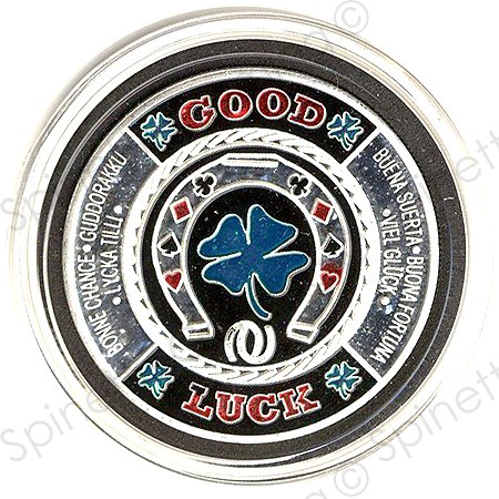 (Horseshoe/Clover Leaf Silver Poker Card Guard)