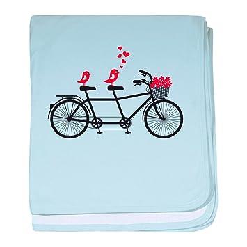 Bicicletas tandem CafePress con pájaros del amor; vector easyworld b manta del bebé, algodón, azul celeste, Estándar: Amazon.es: Hogar