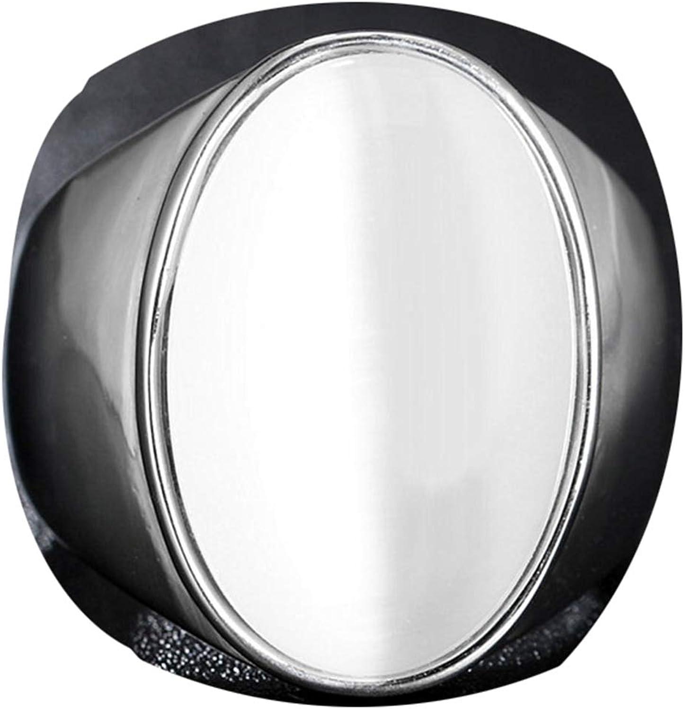 AmDxD Anillo Boda Acero Inoxidable Blanco Plata Anillo con Oval Piedra Anillos Boda Vintage 23MM Anchura Tamaño