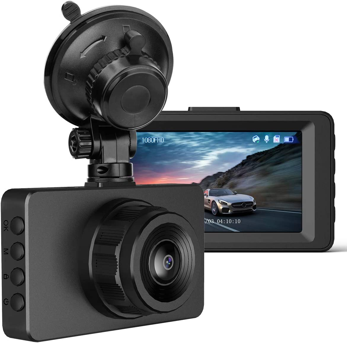 "Dash Cam 1080P FHD Car Camera, 3"" IPS Screen 170° Wide Angle Dash Camera for Cars, Driving Recorder with Super Night Vision WDR G-Sensor and Loop Recording, Motion Detection, Parking Monitor"