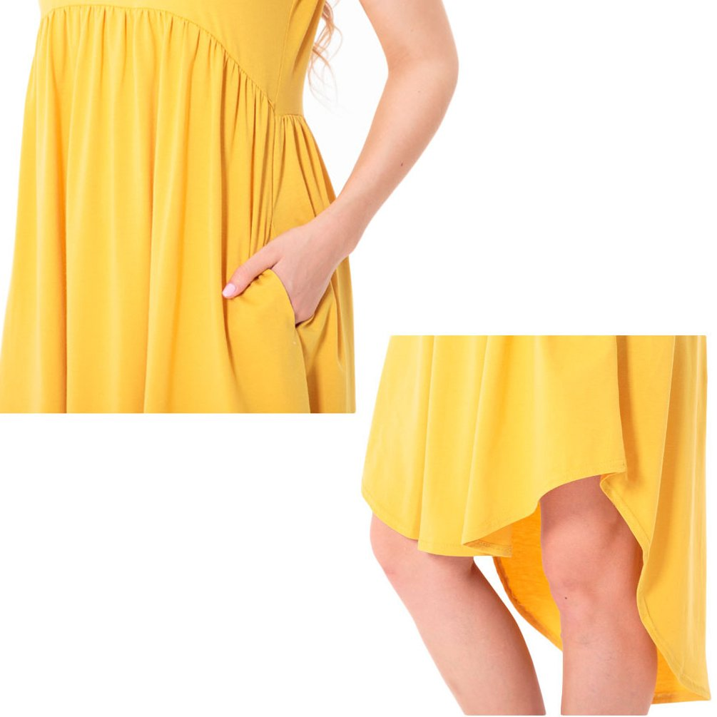 ENJOYNIGHT Women's Casual Summer Short Sleeve High Low Pleated Swing Loose Flared Midi Dress (Large, Yellow)