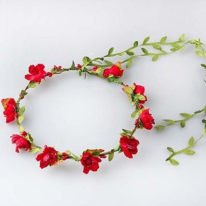 8fb45802d44 Cute Handmade Artificial Plum Cherry Blossom Flowers Rattan Crown Wedding  Headdress Bride Flower Headpiece Green Leaf