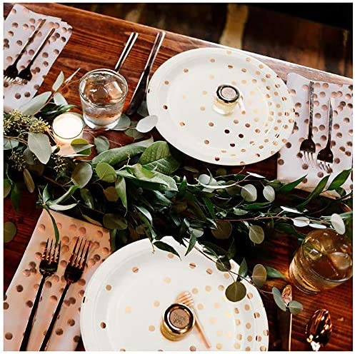 Set di Posate per Piatti in Carta USA E Getta 300PCS Rose Gold Birthday Party Wedding Holiday Supplies Biodegradable,A