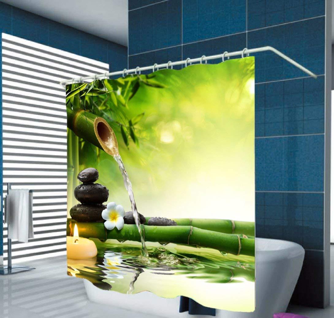 Hoomall Rideau Douche Salle de Bain Intransparence Etanche Anti-Moisissure Polyester Motif Bambou Zen 1pc 200x180cm