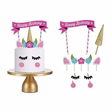 Happy Birthday Cake Topper Einhorn Deko Party Deko Geburtstag Deko