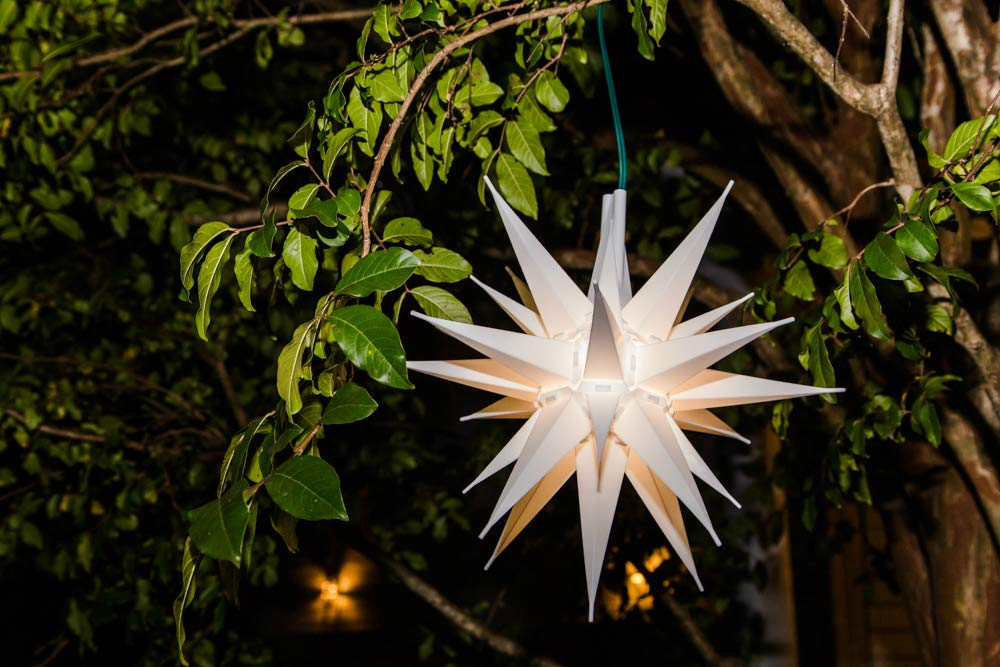 Advent Star Beautiful Bright White 3D Lighted Christmas Star Tree Topper 12 Inch, LED Moravian Star Tree Topper Bethlehem Star . Elf Logic Assembly Required