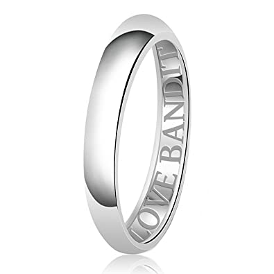 5mm I Love You More than Chocloate Engraved Classic Sterling Silver Plain Wedding Band Ring XZkNX