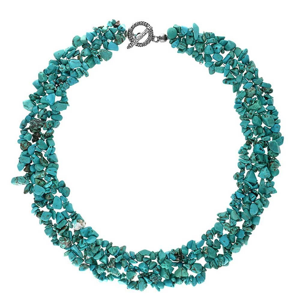 Reconstituted Turquoise Chips Bib Silver Plated Necklace 18 Inches