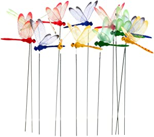 12pcs 3D Dragonfly Planter Dragonflies Garden Ornaments Patio Decoration Dragonfly Stakes with Sticks