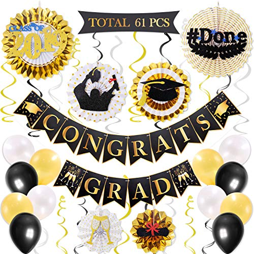 61PCS College Graduation Party Supplies Black and Gold Set, CONGRATS GRAD Banner Class of 2019 Themed Hanging Paper Fan, Balloons and Hanging Swirls, High School College Graduation Party Decoration]()