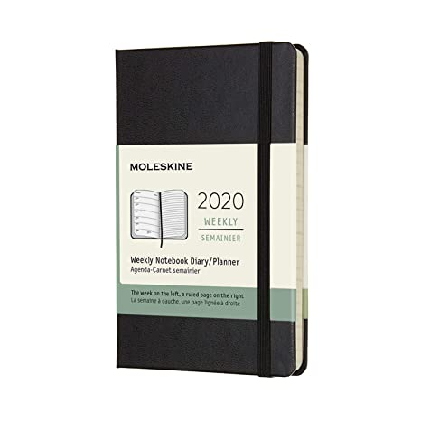 Moleskine 12 Monate Wochen Notizkalender 2020 Pocket/A6, 1 Wo=1 Seite, Liniert, Fester Einband, Schwarz