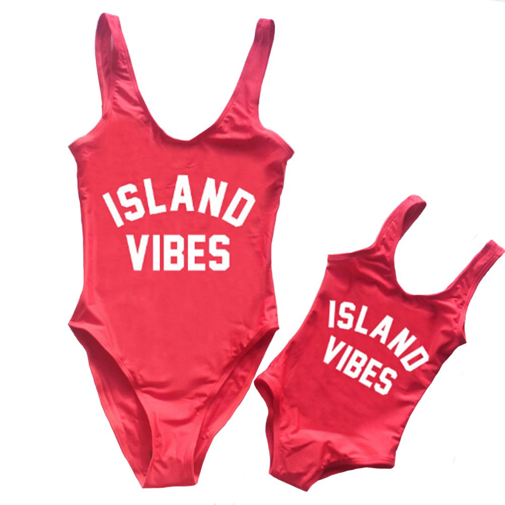 Mommy and Me Swimsuit Mother Girl Swimwear Family Matching One Piece Letters Print Beach Wear