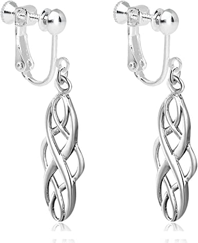 drop AB pink Silver colored Celtic knot earrings or clear drop with black bead or silver bead. Please choose from deep red