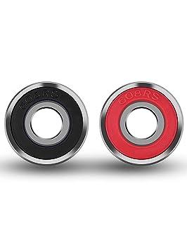 Xhuan 20 Piezas Rodamientos de monopatín Longboard rodamientos con Ruedas para Patines 608 2RS, Rojo y Negro: Amazon.es: Hogar